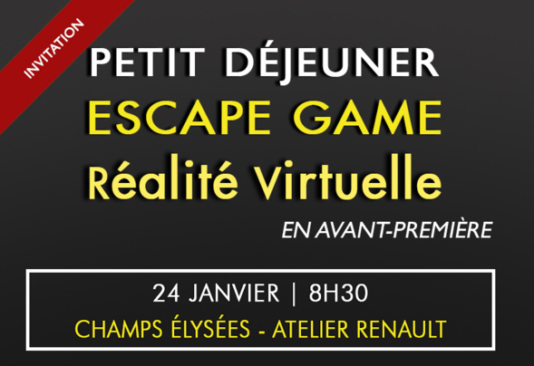 Invitation - Testez notre Escape Game Réalité Virtuelle en équipe : 24 Janvier