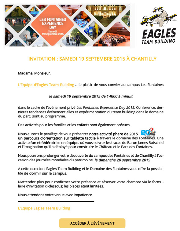 Invitation : Samedi 19 Septembre 2015 à Chantilly