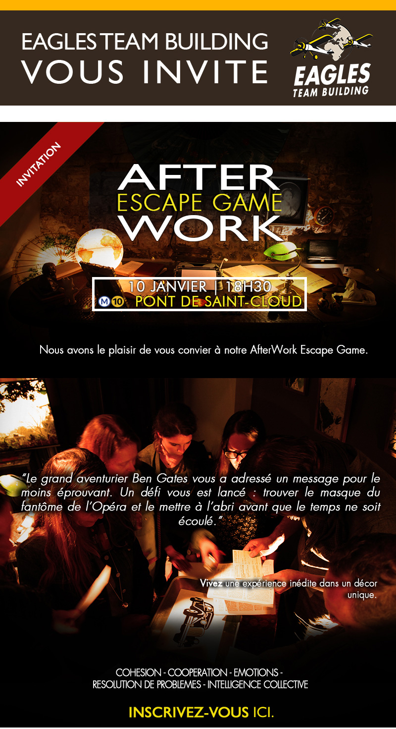 Invitation - Afterwork Escape Game : Jeudi 10 Janvier