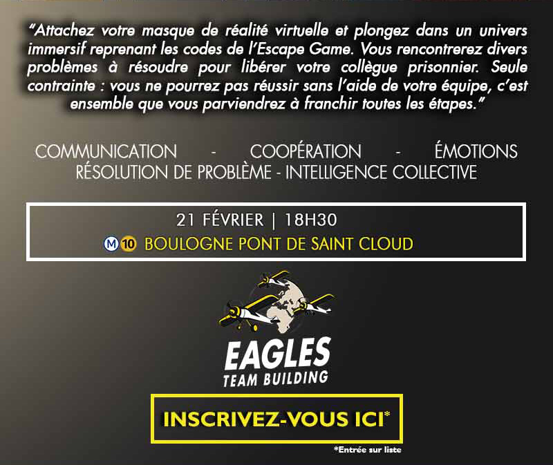 Invitation Afterwork 21/02 - Découvrez la réalité virtuelle en équipe dans un Escape Game